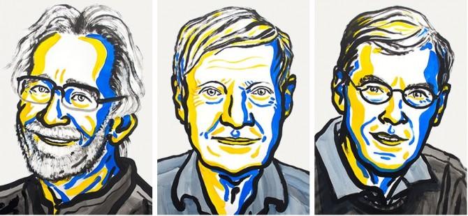 2017년 노벨 화학상 수상자. (왼쪽부터) 자크 뒤보셰 교수, 요아킴 프랑크 교수, 리처드 헨더슨 연구원(왼쪽부터) - 노벨위원회 제공